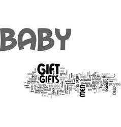 Baby gifts a guide for men text word cloud concept vector