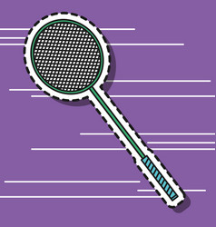 badminton racket element to play patch design vector image