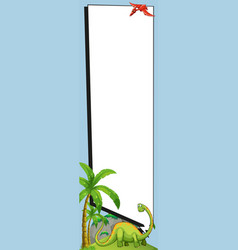 Banner template with brachiosaurus and pterosaur vector