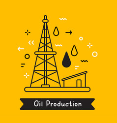 business of black oil derrick with fuel drop on vector image