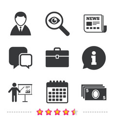 businessman signs human and cash money icons vector image