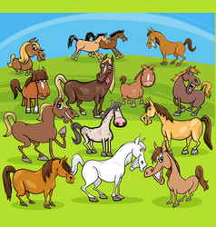 cartoon horses farm animals group vector image