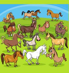 Cartoon horses farm animals group vector