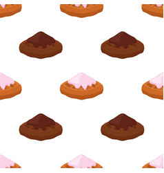Cartoon seamless pattern of belgian hinese waffle vector