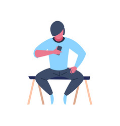 caucasian man character sitting pose using vector image