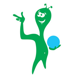 cheerful green alien also enjoys bowling vector image