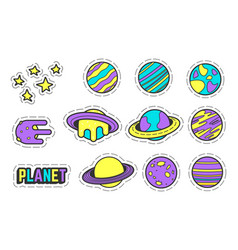 Collection of cosmic patches with planets vector