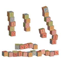 Construction in toy blocks vector