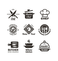 Cooking master classes labels restaurant or cafe vector