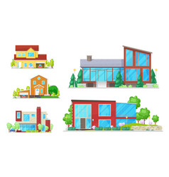 cottage buildings and countryside houses vector image