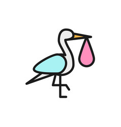 Crane bird with babag stork flat color line vector