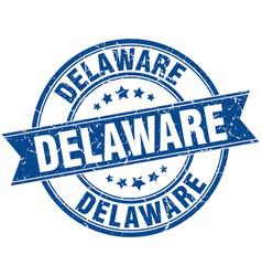 Delaware blue round grunge vintage ribbon stamp vector