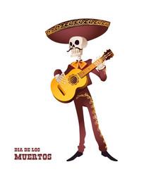 Dia de muertos mariachi musician skeleton guitar vector