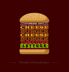 Double cheeseburger letters recipe typography vector