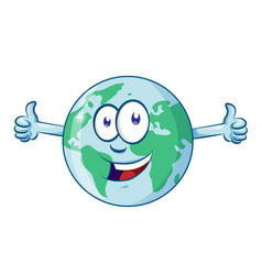 earth cartoon character earth day mascot thumbs up vector image