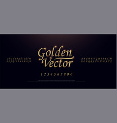 Elegant golden colored metal chrome alphabet font vector