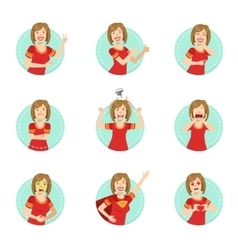 Emotion Body Language Set With Woman vector