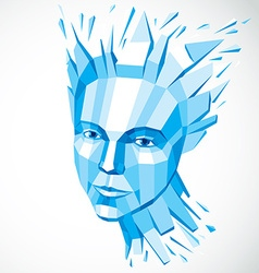 Face of a thinking woman created in low poly style vector