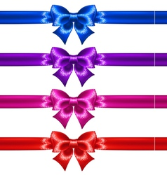 Festive bows with glitter and ribbons vector