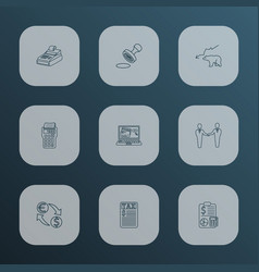 finance icons line style set with internet banking vector image