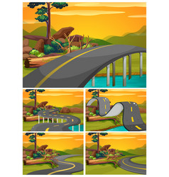 Five scenes of road at sunset vector