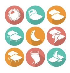 Flat design weather icons vector