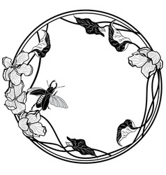 Frame with stag-beetle and apple flowers vector