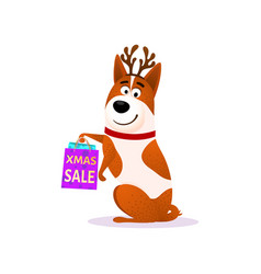 funny cartoon dog portrait with xmas sale bags vector image