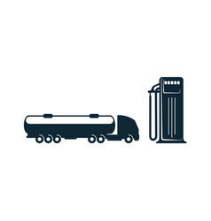 gasoline tanker truck and fueling station vector image