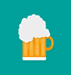 glass of beer in a flat style with shadow vector image