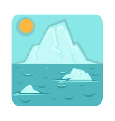 Global warming problem icon with glaciers that vector
