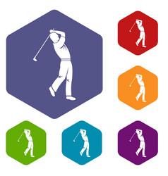 Golf player icons set hexagon vector