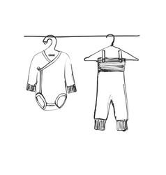 Hand drawn wardrobe sketch baby clothes doodles vector