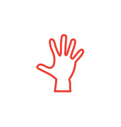 hand line red icon on white background red flat vector image
