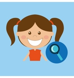 Happy girl student school search icon vector