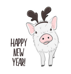 happy pig with horns new year 2019 vector image