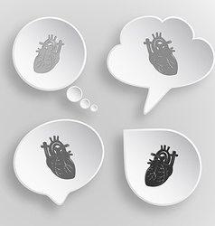 Heart White flat buttons on gray background vector