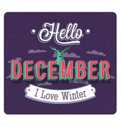 hello december typographic design vector image