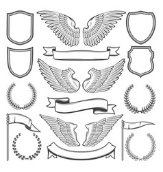 Heraldic wings shields and ribbons vector