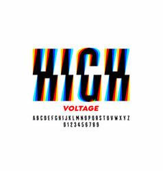 high voltage style font design alphabet letters vector image