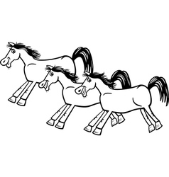 Horses or mustangs coloring page vector