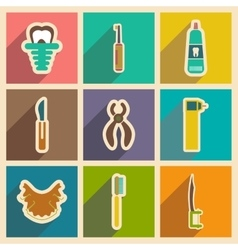 Icons of assembly stomatology in flat style vector