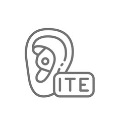 in ear hearing aid ite line icon vector image