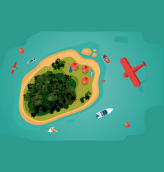Island top view tropical sea resort with people vector