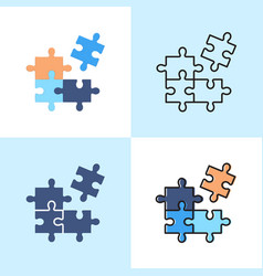 jigsaw puzzle icon set in flat and line styles vector image