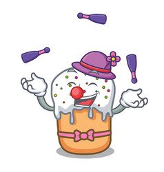 juggling easter cake mascot cartoon vector image