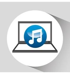 Laptop display concept note music media design vector