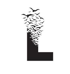 Letter l with effect destruction dispersion vector
