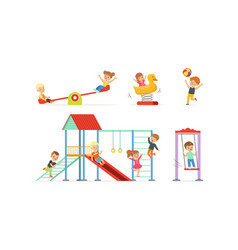 Little children playing at playground vector