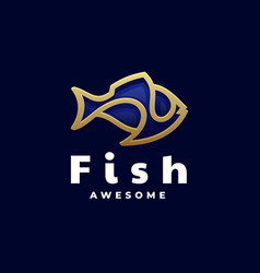 Logo fish gradient line art style vector